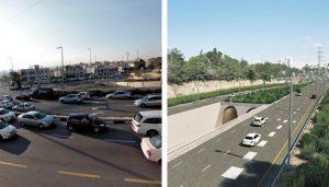 הדמיה של מנהרות הגבעה הצרפתית וצומת הגבעה הצרפתית בירושלים (צילומים: אורן בן-חקון, צוות תכנית אב לתחבורה)