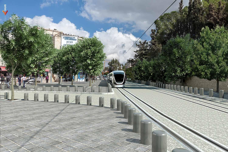 הדמיית הרכבת הקלה בעמק רפאים. (צילום: צוות אב לתחבורה ירושלים JTMT)