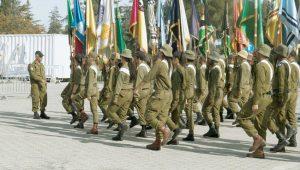 """מתוך החזרות של הדגלנים לטקס בהר הרצל (צילום: דובר צה""""ל)"""