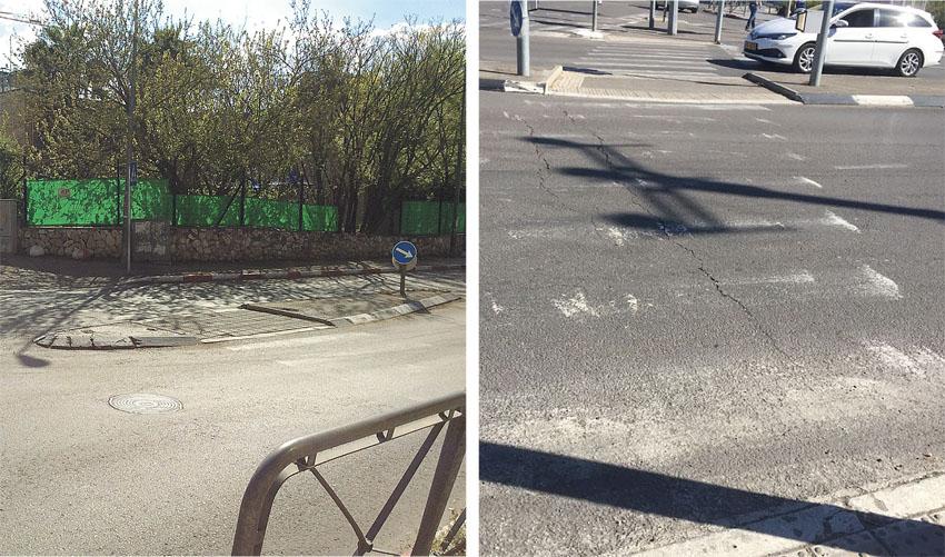 בתמונות (משמאל) מעבר חציה בקטמון, מעבר חציה בצומת אורנים (צילום: איתי פישהנדלר)