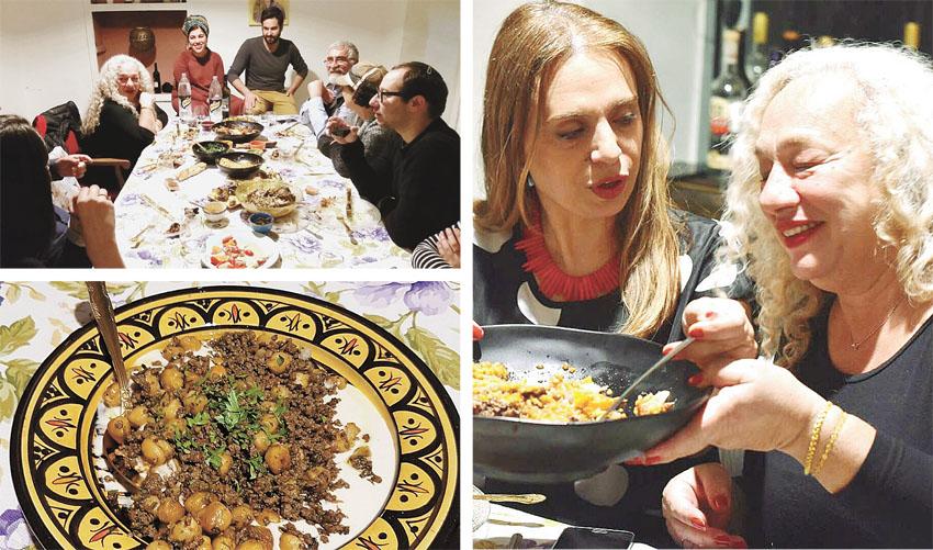 סיגל קליין אוכלת אצל חן ואלון קורן בסדנה במחנה יהודה