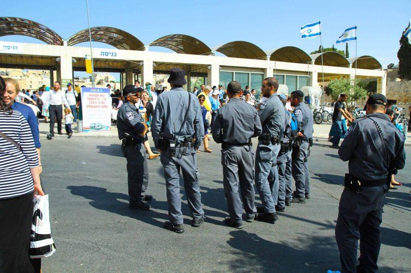כוננות משטרתית סמוך לכותל המערבי (צילום: ארנון בוסאני)