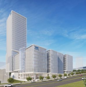 """בניין מובילאיי החדש בהר החוצבים (הדמיה: משה צור אדריכלים בוני ערים בע""""מ)"""