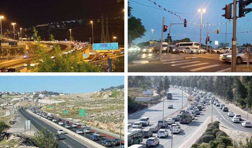 פקקים בירושלים (צילומים: עדי זורע, מאיר אליפור, אורן בן-חקון, ארנון בוסאני)