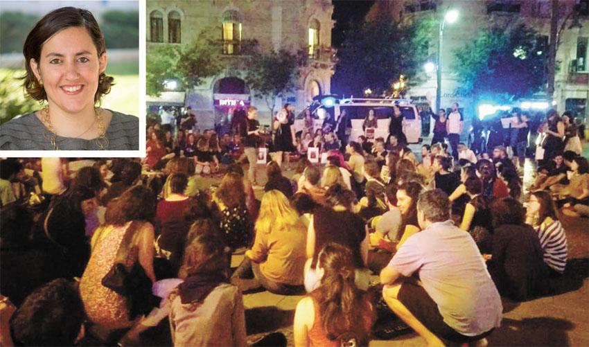 עצרת מחאה לעצירת אלימות נגד נשים בירושלים, רני חזון וייס (צילום: נעם פיינר)