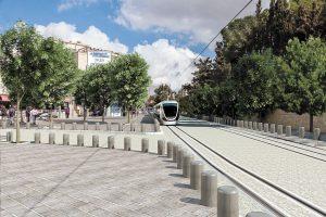 הדמית הקו הכחול ברכבת הקלה בעמק רפאים (הדמיה: תכנית אב לתחבורה ירושלים JTMT)