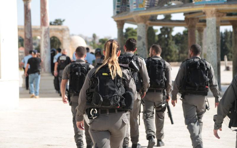 כוננות משטרתית בהר הבית (צילום: דוברות המשטרה)