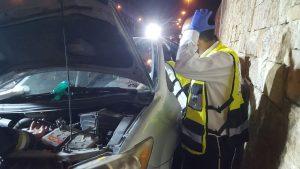"""תאונה קטלנית סמוך למנהרת הארזים (צילום: דוברות זק""""א)"""