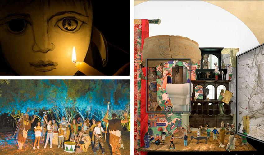 """מתוך התערוכה """"עצם הדברים"""", ההצגה """"נקודת אור"""", לילות אפריקה בגן הבוטני (צילומים: עודד אנטמן, דור קדמי, באדיבות מוזיאון ישראל)"""