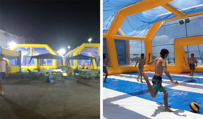 """כדורגל ומים נפגשים במתחם התחנה (צילומים: יח""""צ מתחם התחנה, באדיבות wetball)"""