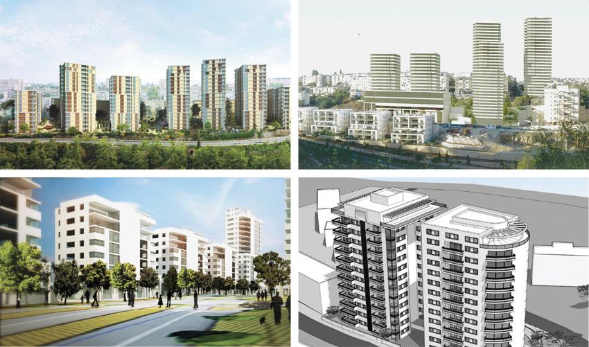 """למעלה משמאל עם כיוון השעון: הדמיית פרויקט """"הארזים"""", הדמיית פרויקט """"הנורית"""", הדמיית פרויקט סן מרטין, """"הדמיית פרויקט טהון (הדמיות: פלד קימלמן, דן איתן ורות להב ריג אדריכלים ומתכנני ערים, פרוס אדריכלים, אפריקה התחדשות עירונית)"""