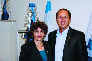 ראש העיר ניר ברקת ויעל ענתבי (צילום: דוברות עיריית ירושלים)