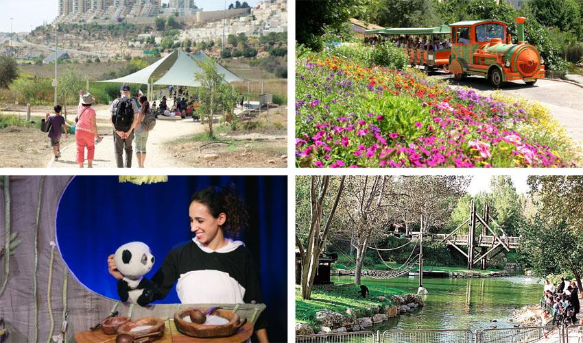 """הגן הבוטני, גן החיות, הצגה בתיאטרון הקרון, עמק הצבאים (צילומים: יח""""צ, Yoninah, דור קדמי, ארנון בוסאני)"""