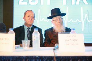 שר הבריאות יעקב ליצמן וראש העיר ניר ברקת, ועידת ישראל לרפואה 2017 (צילום: ארנון בוסאני)