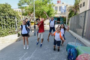 """תלמידי בית הספר """"היובל"""" גבעת משואה (צילום: מאיר אליפור)"""
