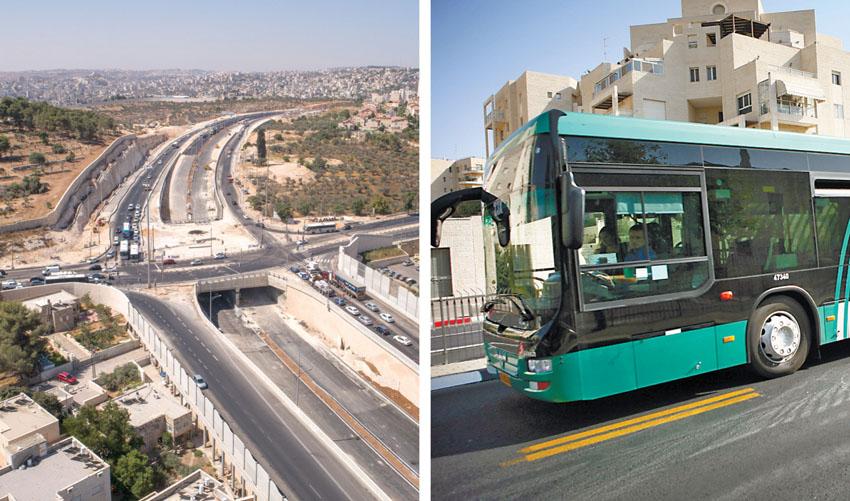 אוטובוס ומחלף רוזמרין (צילומים: מיכל פתאל, אלמנטס יוצרים קונספט ויזואלי)