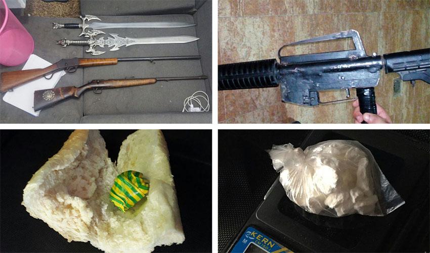 הנשק והסמים שנתפסו הבוקר (צילומים: דוברות המשטרה)