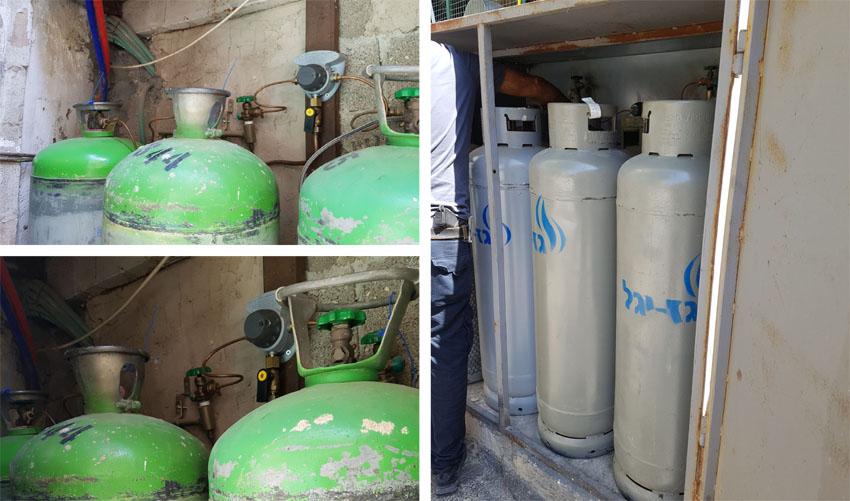 בלוני גז פיראטים בשוק מחנה יהודה (צילומים: מינהל קהילתי לב העיר)