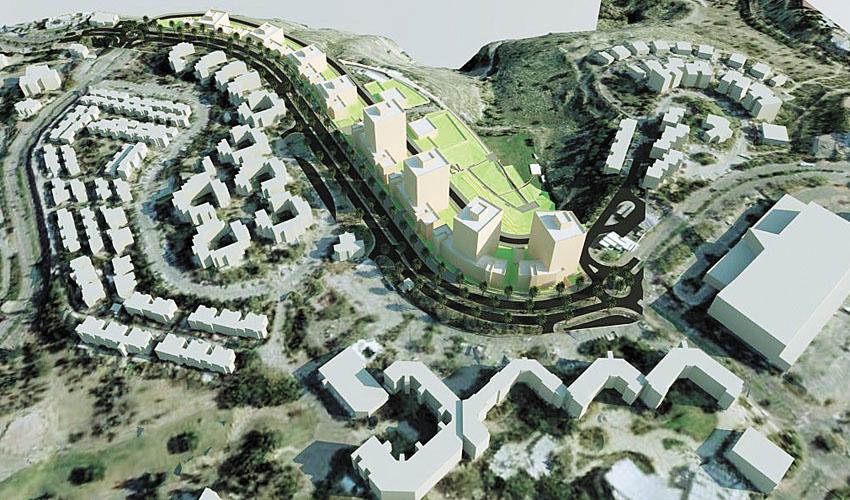 הדמיית התוכנית בכיכר קדם (הדמיה: עיריית מעלה אדומים)