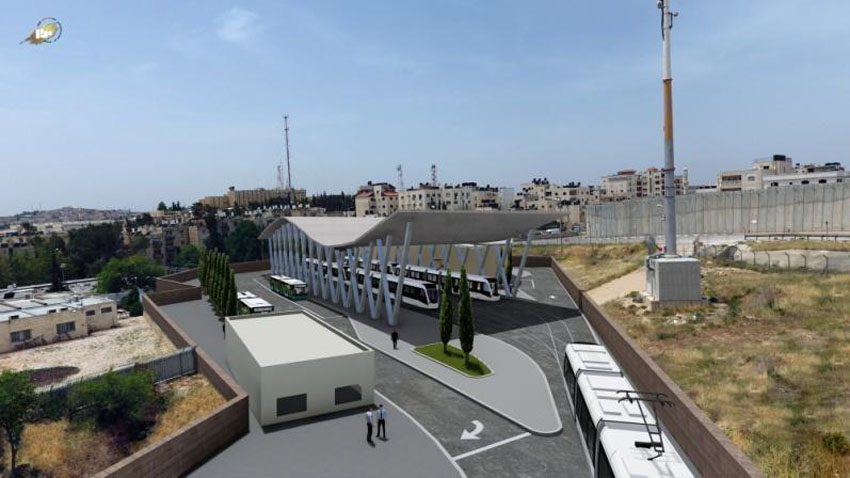 הדמיה חניון הרכבת הקלה בנוה יעקב (צילום: צוות תכנית אב לתחבורה ירושלים)