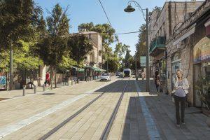 הדמית הקו הכחול של הרכבת הקלה בעמק רפאים (צילום: צוות תכנית אב לתחבורה ירושלים)