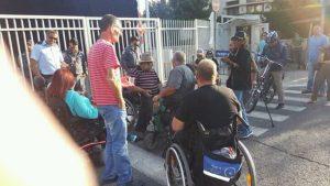 הפגנת הנכים מול בית ראש הממשלה בירושלים (צילום: אליעזר רוטמן, הנכים הופכים לפנתרים)