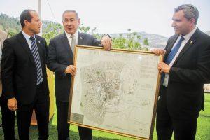 השר זאב אלקין, ראש הממשלה בינמין נתניהו, ראש עיריית ירושלים ניר ברקת (צילום: מרק ישראל)