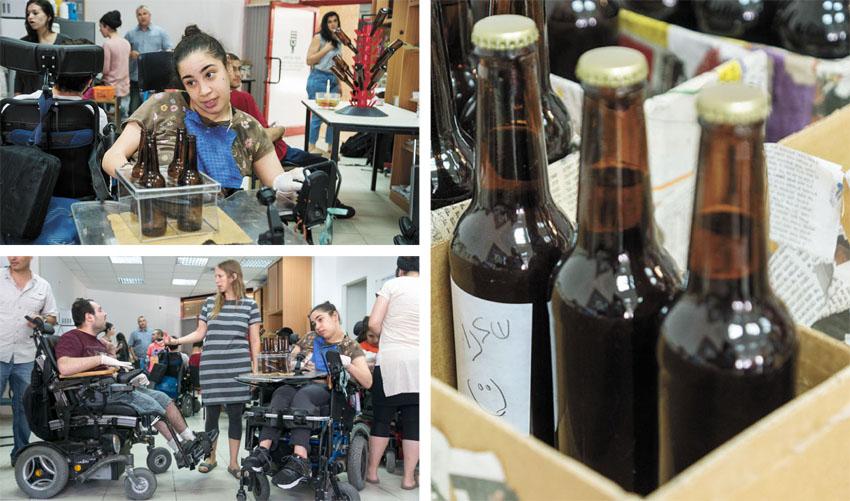 """אנשי עמותת צעד קדימה מייצרים את הבירה (צילומים: מעוז ויסטוך, יח""""צ)"""