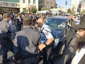 הפגנות החרדים סמוך לתחנה המרכזית (צילום: דוברות המשטרה)