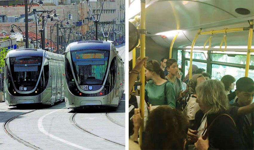 עומס באוטובוס, הרכבת הקלה (צילומים: אלון קאס, אוריה תדמור)