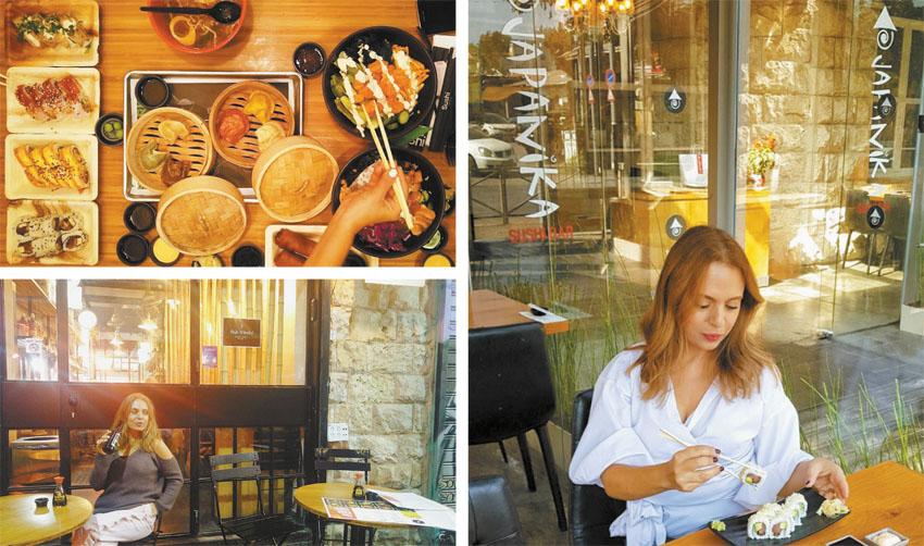 סיגל קליין אוכלת סושי (צילומים: נועם קליין, סיוון בלולו)
