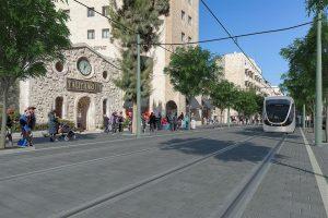 רחוב קינג ג'ורג', הדמיית הקו הכחול של הרכבת הקלה (הדמיה: צוות תוכנית אב לתחבורה)