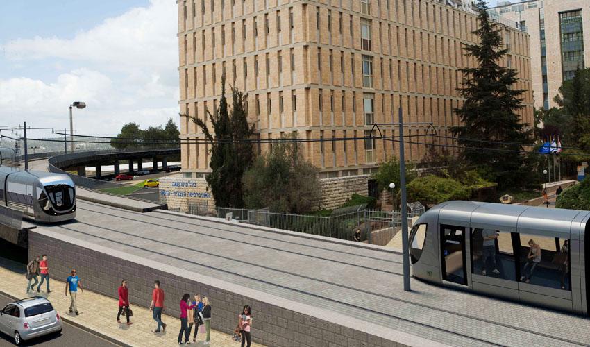 הדמיה של תוואי הרכבת הקלה לעין כרם (הדמיה: צוות תכנית אב לתחבורה ירושלים)