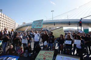 הפגנת עובדי טבע ירושלים בכניסה לעיר (צילום: אוליבייה פיטוסי)