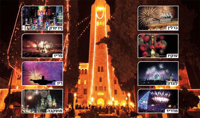 """בניין ימק""""א, סילבסטר בירושלים ובעולם (צילומים: אור דוגה, צילום מסך מתוך יוטיוב)"""
