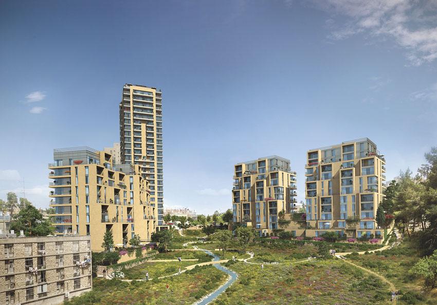 """הדמיית פרויקט """"עמק היובל"""" ברחוב זנגוויל (הדמייה: Olin, פרוס אדריכלים)"""