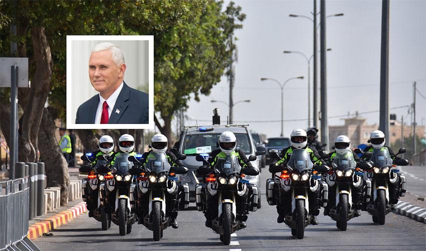 מייק פנס, ביקור בירושלים (צילומים: דוברות המשטרה, DON EMMERT אי־אף־פי)