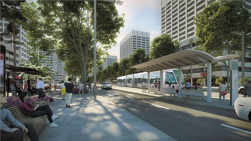 הדמיית הרכבת הקלה ברחוב פייר קניג (הדמיה: חברת טוטם 1)