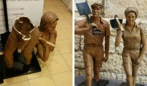 (מימין) הפסלים לפני, פסל החלוצה השבור (צילום: פרטי)