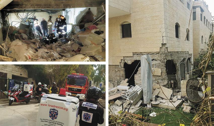 זירת פיצוץ הגז בשכונת בקעה (צילומים: נתי שפירא, דוברות כבאות והצלה מחוז ירושלים, איחוד הצלה מחוז ירולשים)
