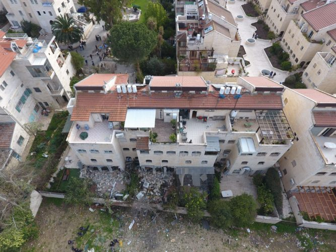 זירת פיצוץ הגז בבקעה (צילום: אגף חירום וביטחון עיריית ירושלים)