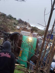 זירת התאונה בגילה - אוטובוס הדרדר לוואדי