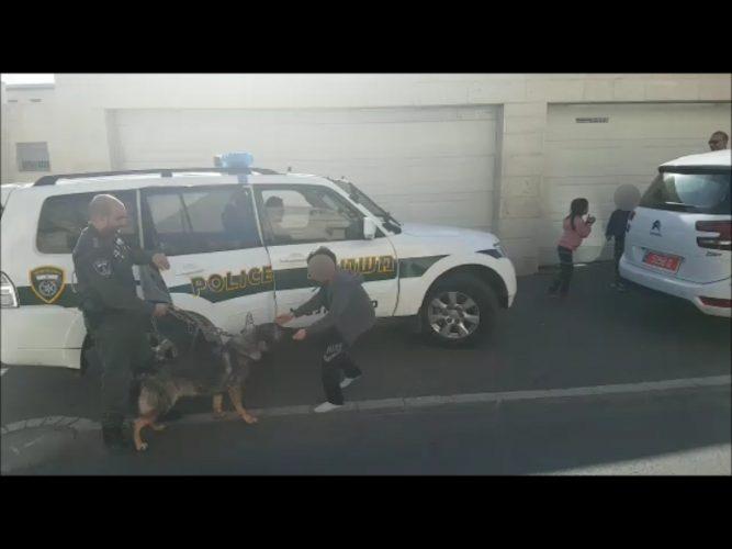 השבת הכלבה לולה למשפחתה בהר חומה (צילום: דוברות המשטרה)