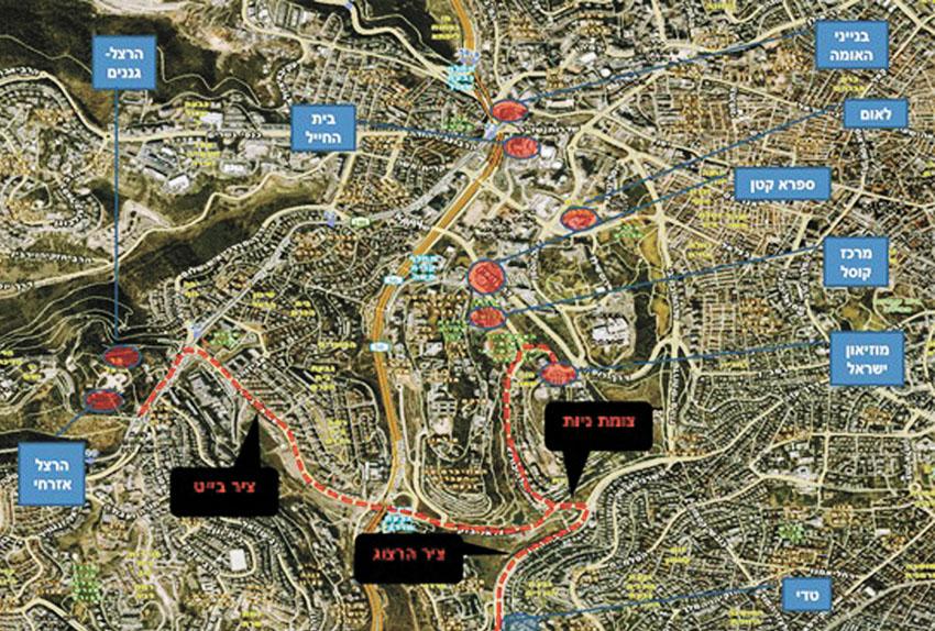 מפת חסימות הכבישים (צילום: דוברות המשטרה)