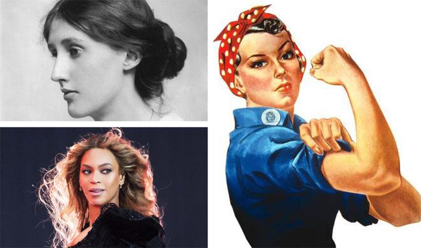 (משמאל למעלה עם כיוון השעון) וירג'יניה וולף, אימג' האישה החזקה, ביונסה (צילומים: George C. Beresford Hulton Archi, אי פי Daniela Versco)