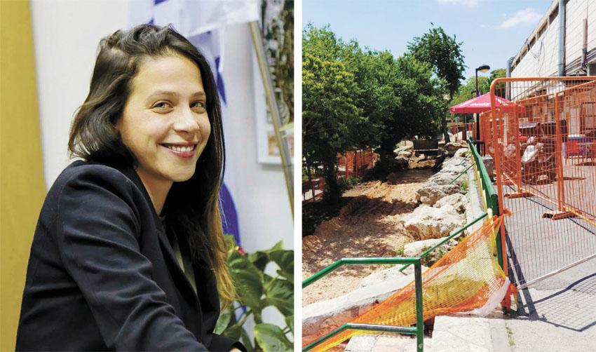 העבודות במרכז המסחרי בקרית מנחם, עינב בר-כהן (צילומים: אסף עדי, שרון גבאי)
