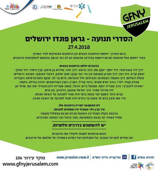 הסדרי התנועה - אירוע האופניים גראן פונדו בירושלים