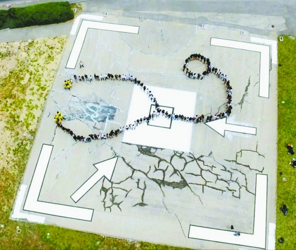 הסטטוסקופ האנושי שצולם על די רחפן (צילום: דוברות האוניברסיטה העברית / יושי גרוס)