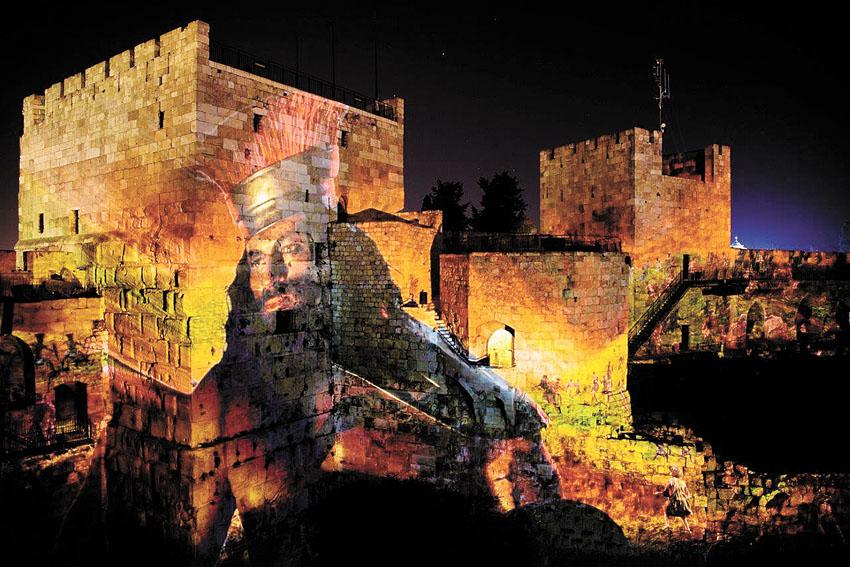"""החיזיון האור-קולי """"המלך דוד"""" במגדל דוד (צילום: נפתלי הילגר)"""