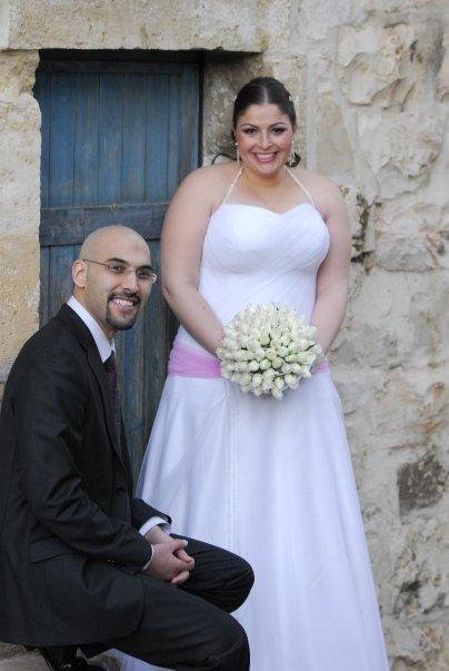 """מיכל פישמן רואה ותומר רואה ביום החתונה. """"מזל טוב! התחתנתם. מתי ילדים?"""" (צילום: אלבום פרטי)"""